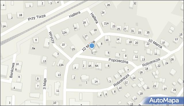 Luzino, Poprzeczna, 1, mapa Luzino