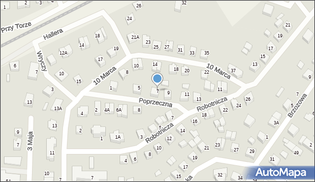 Luzino, Poprzeczna, 7, mapa Luzino