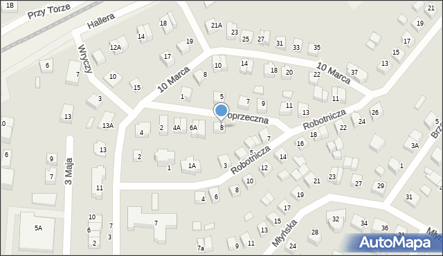 Luzino, Poprzeczna, 8, mapa Luzino