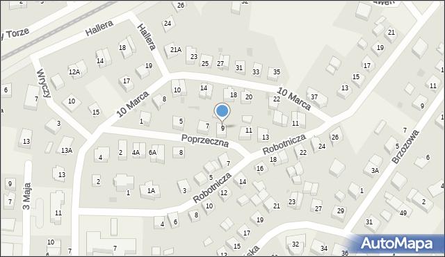 Luzino, Poprzeczna, 9, mapa Luzino