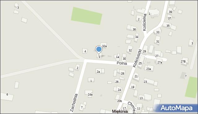 Miękinia, Polna, 1, mapa Miękinia