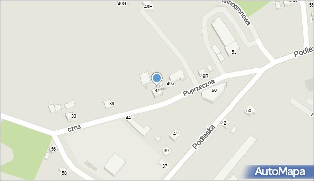 Mikołów, Poprzeczna, 47, mapa Mikołów
