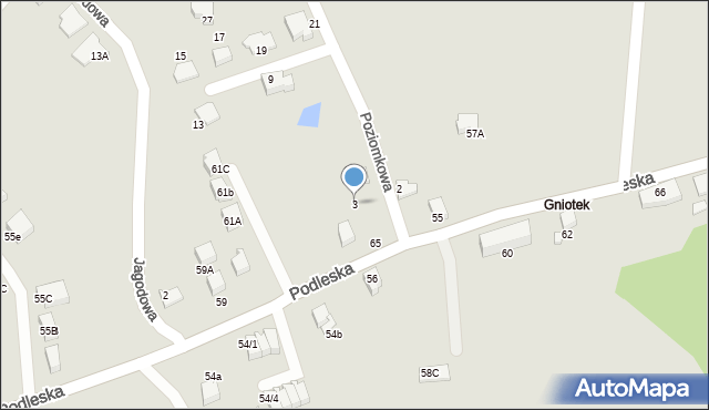 Mikołów, Poziomkowa, 3, mapa Mikołów