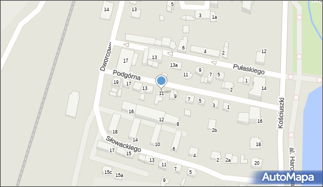 Mogilno, Podgórna, 11, mapa Mogilno