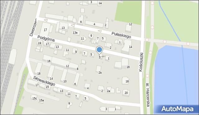 Mogilno, Podgórna, 3, mapa Mogilno