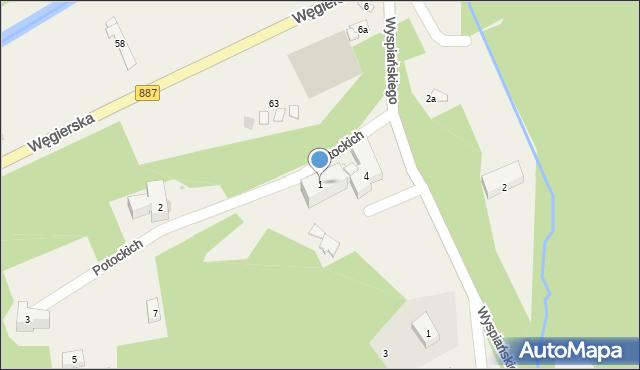 Rymanów-Zdrój, Potockich Anny i Jana, 1, mapa Rymanów-Zdrój
