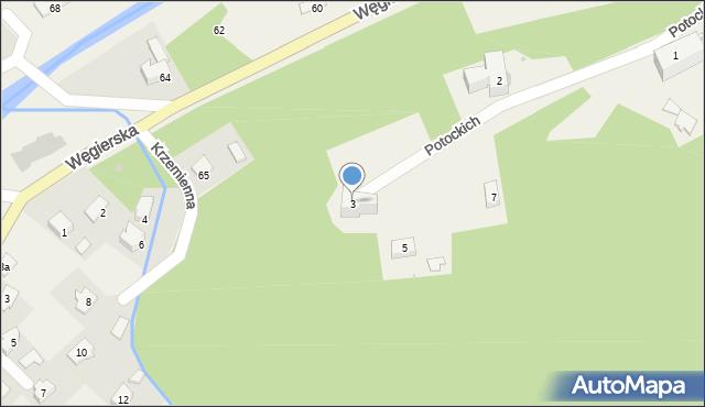 Rymanów-Zdrój, Potockich Anny i Jana, 3, mapa Rymanów-Zdrój