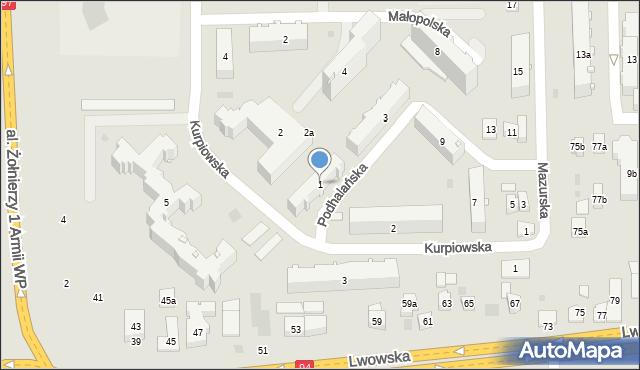 Rzeszów, Podhalańska, 1, mapa Rzeszów