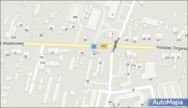 Sieradz, Polskiej Organizacji Wojskowej, 23, mapa Sieradz