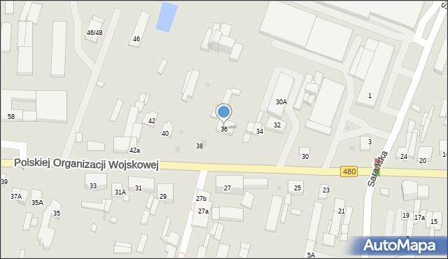 Sieradz, Polskiej Organizacji Wojskowej, 36, mapa Sieradz