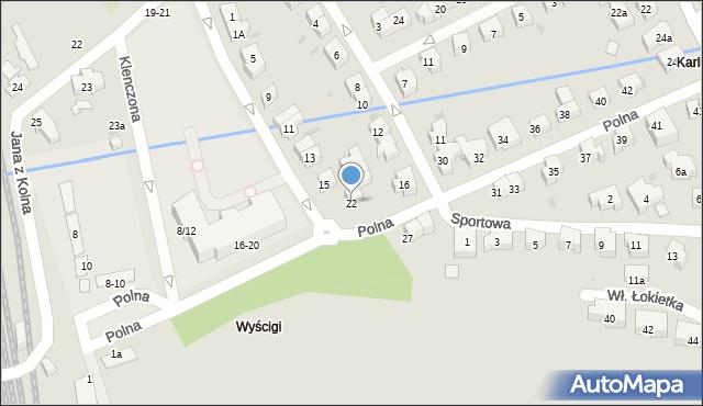 Sopot, Polna, 22, mapa Sopotu