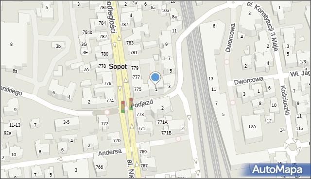 Sopot, Podjazd, 1, mapa Sopotu