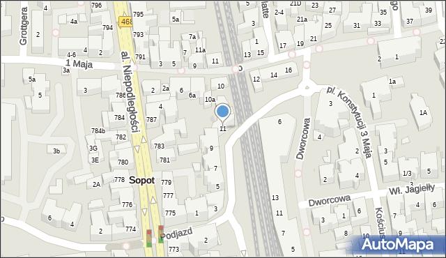 Sopot, Podjazd, 11, mapa Sopotu