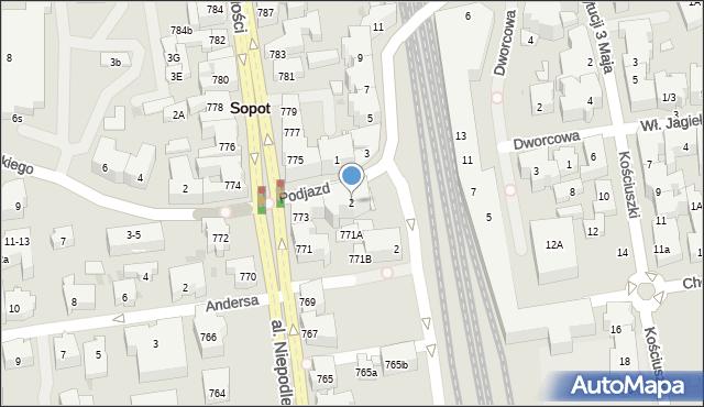Sopot, Podjazd, 2, mapa Sopotu