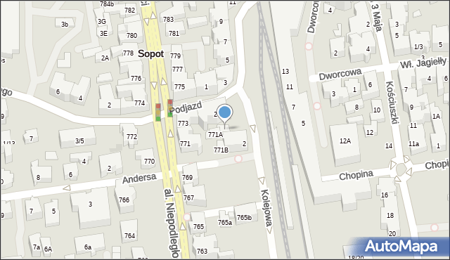 Sopot, Podjazd, 2B, mapa Sopotu