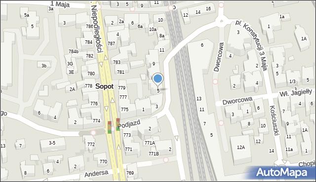 Sopot, Podjazd, 5, mapa Sopotu