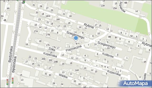 Sosnowiec, Poprzeczna, 4, mapa Sosnowca