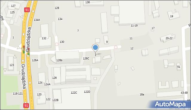 Toruń, Pod Dębową Górą, 2, mapa Torunia
