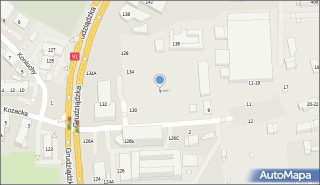 Toruń, Pod Dębową Górą, 7, mapa Torunia
