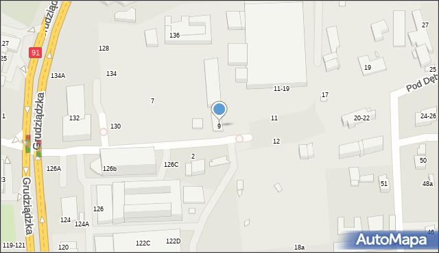 Toruń, Pod Dębową Górą, 9, mapa Torunia