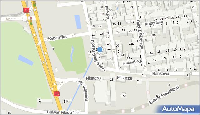 Toruń, Pod Krzywą Wieżą, 14a, mapa Torunia