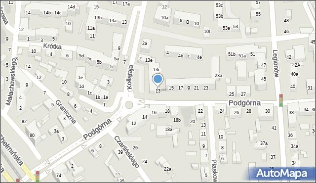 Toruń, Podgórna, 11, mapa Torunia