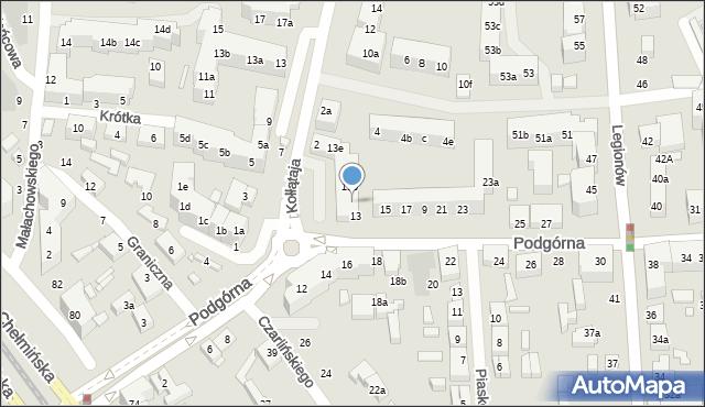 Toruń, Podgórna, 13a, mapa Torunia