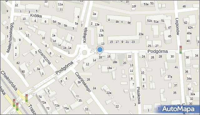 Toruń, Podgórna, 16, mapa Torunia