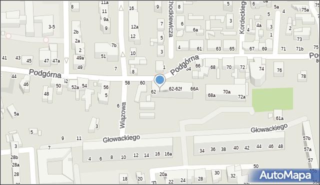 Toruń, Podgórna, 62b, mapa Torunia