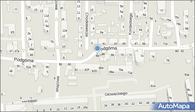Toruń, Podgórna, 64, mapa Torunia