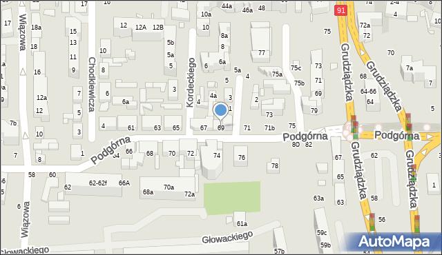 Toruń, Podgórna, 69, mapa Torunia