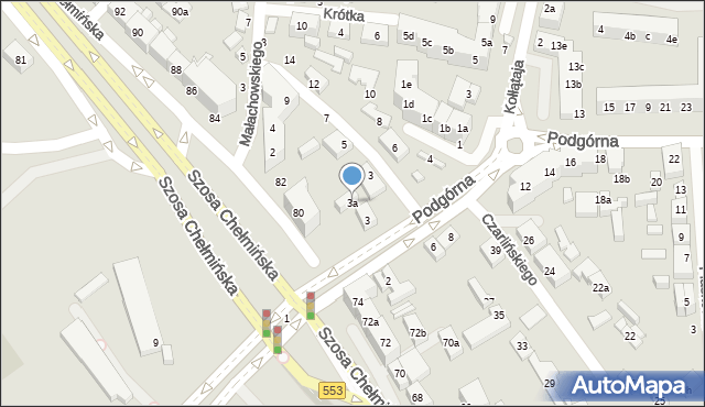 Toruń, Podgórna, 7, mapa Torunia
