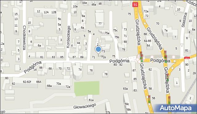 Toruń, Podgórna, 71a, mapa Torunia