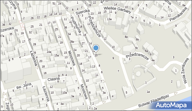 Toruń, Podmurna, 10, mapa Torunia