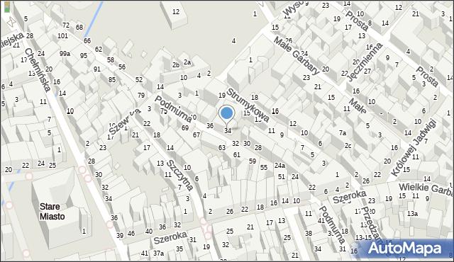 Toruń, Podmurna, 34, mapa Torunia