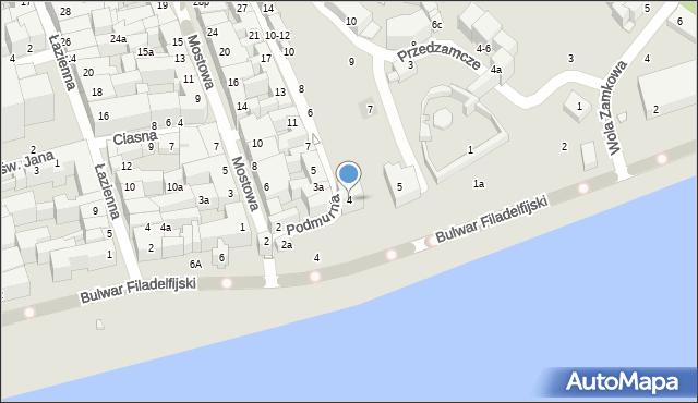 Toruń, Podmurna, 4, mapa Torunia