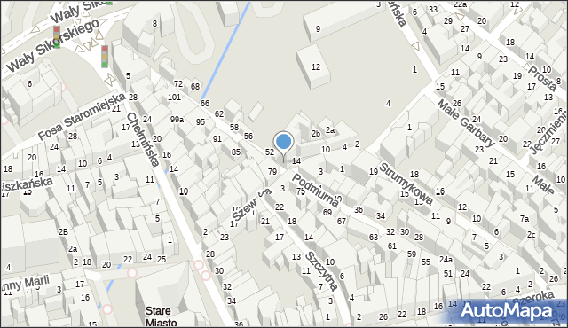 Toruń, Podmurna, 50, mapa Torunia
