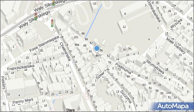 Toruń, Podmurna, 85, mapa Torunia