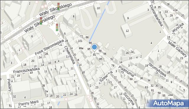 Toruń, Podmurna, 91, mapa Torunia