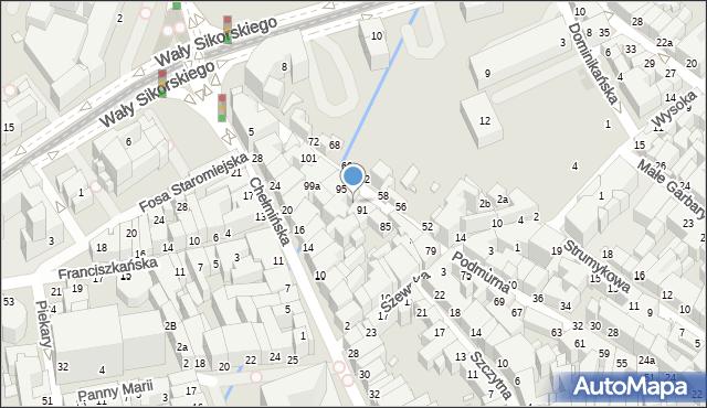 Toruń, Podmurna, 93, mapa Torunia