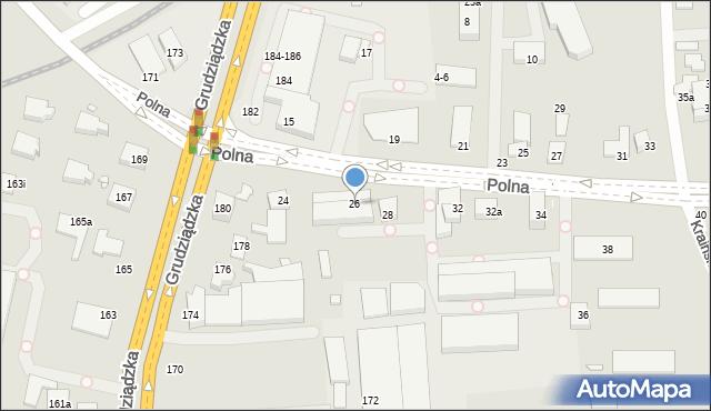 Toruń, Polna, 26, mapa Torunia