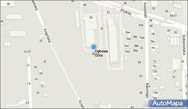 Toruń, Polna, 50a, mapa Torunia