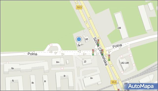 Toruń, Polna, 5a, mapa Torunia