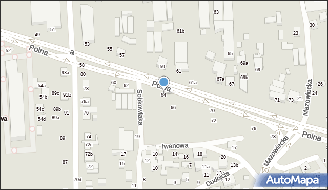 Toruń, Polna, 64, mapa Torunia