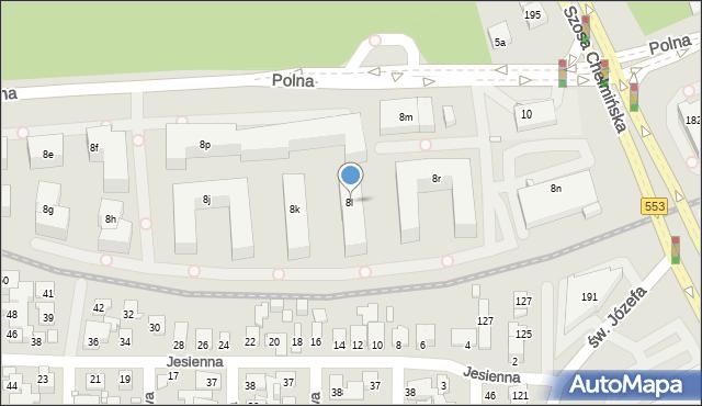 Toruń, Polna, 8l, mapa Torunia