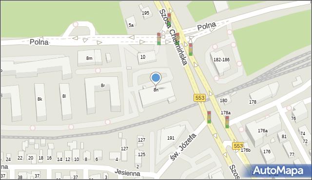 Toruń, Polna, 8n, mapa Torunia