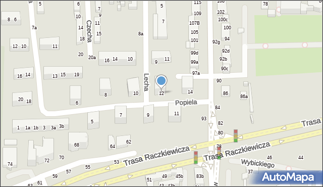Toruń, Popiela, 12, mapa Torunia