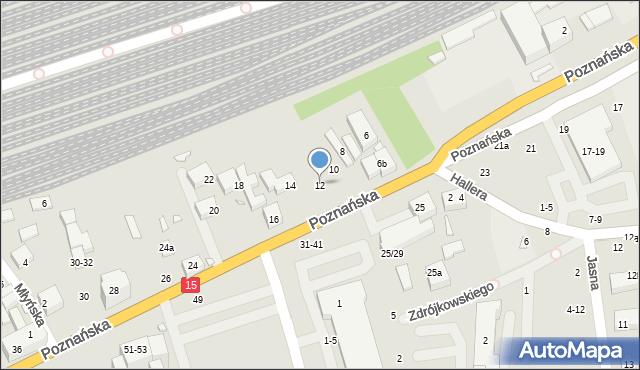 Toruń, Poznańska, 12, mapa Torunia