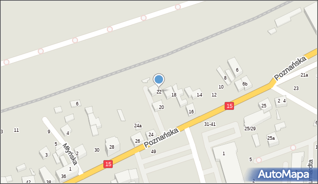 Toruń, Poznańska, 22, mapa Torunia