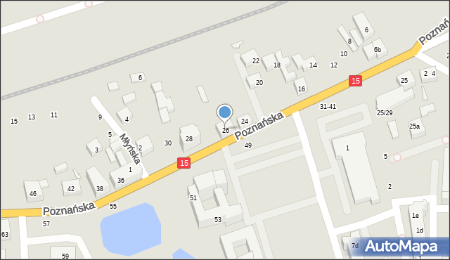 Toruń, Poznańska, 26, mapa Torunia